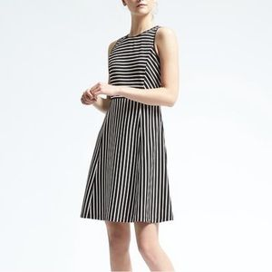 Banana Republic Fit and Flare Striped Ponte Dress